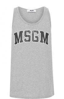 Хлопковая майка свободного кроя с логотипом бренда MSGM