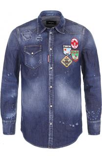 Джинсовая рубашка с потертостями и нашивками Dsquared2