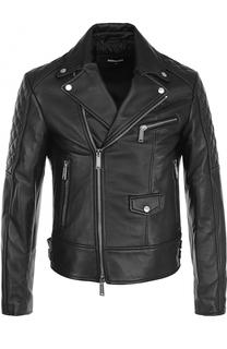 Кожаная куртка с косой молнией Dsquared2