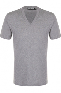 Хлопковая футболка с V-образным вырезом Dolce & Gabbana