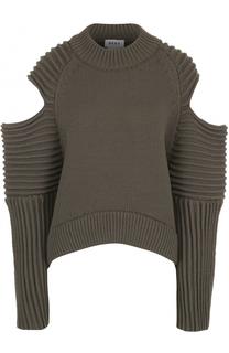 Пуловер фактурной вязки с открытыми плечами DKNY