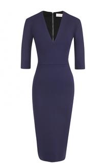 Платье-футляр с V-образным вырезом и укороченным рукавом Victoria Beckham