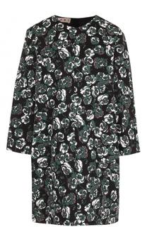 Мини-платье с цветочным принтом и укороченным рукавом Marni