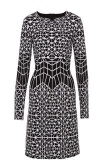 Приталенное мини-платье с контрастным принтом Alaia
