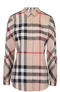 Приталенная хлопковая блуза в клетку Burberry