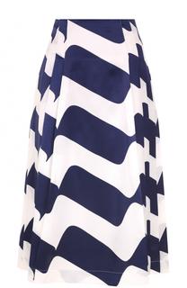 Шелковая юбка в складку с принтом Victoria Beckham