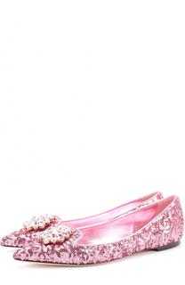 Балетки с вышивкой пайетками и кристаллами Dolce & Gabbana