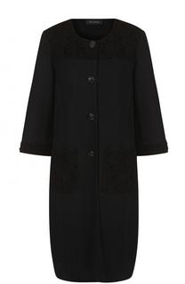Пальто прямого кроя с расклешенными рукавами St. John