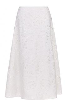 Шелковая юбка с декоративной отделкой Escada
