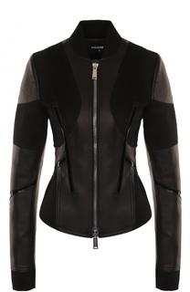 Приталенная куртка из замши и кожи Dsquared2