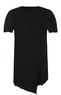 удлиненная хлопковая футболка асимметричного кроя Masnada