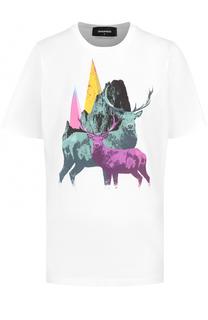 Хлопковая футболка с принтом Dsquared2