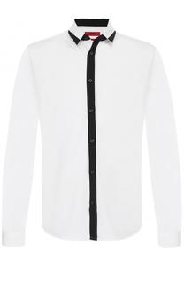 Хлопковая сорочка с контрастной отделкой HUGO