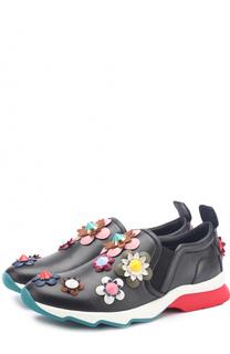 Кожаные кроссовки с цветочной аппликацией Fendi