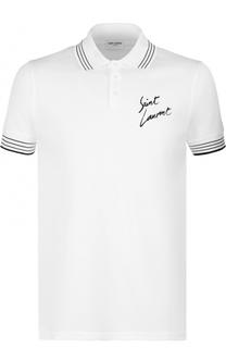 Хлопковое поло с логотипом бренда Saint Laurent