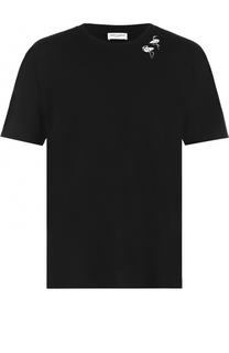Хлопковая футболка с контрастной отделкой Saint Laurent