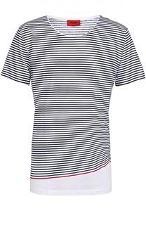 Хлопковая футболка в контрастную полоску HUGO