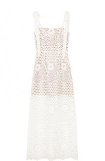 Полупрозрачное кружевное платье-миди с бантами Alice McCall