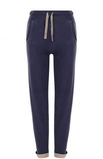 Кашемировые брюки прямого кроя с эластичным поясом и отворотами Allude