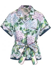 Шелковая блуза с цветочным принтом и укороченным рукавом Dolce & Gabbana