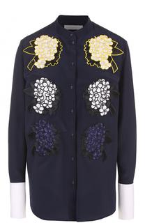 Шелковая блуза прямого кроя с цветочной отделкой Victoria by Victoria Beckham