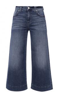 Укороченные широкие джинсы с потертостями 7 For All Mankind