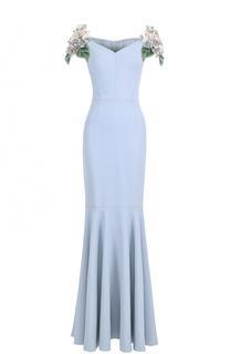 Платье-макси с фактурной цветочной отделкой Dolce & Gabbana