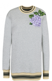 Удлиненный свитшот с цветочной вышивкой Dolce & Gabbana