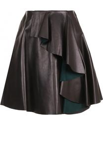 Кожаная мини-юбка с оборками Alexander McQueen