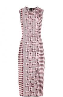 Приталенное платье-миди с принтом гусиная лапка Oscar de la Renta