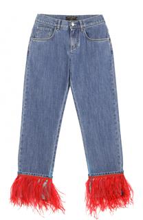 Укороченные джинсы с контрастной отделкой из пера страуса Dolce & Gabbana