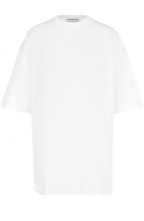 Футболка свободного кроя с вышивкой на спинке Balenciaga