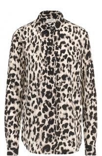 Шелковая блуза прямого кроя с леопардовым принтом Saint Laurent