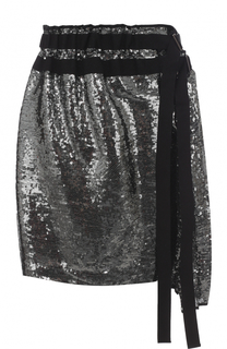 Мини-юбка с плиссировкой и пайетками No. 21