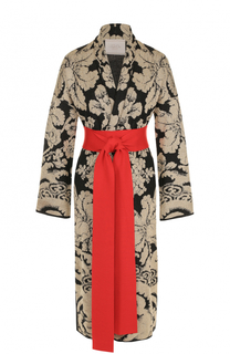 Пальто с металлизированным принтом и контрастным поясом Tak.Ori