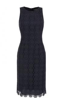 Кружевное приталенное платье без рукавов St. John