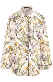 Шелковая блуза с пижамном стиле с принтом Alexander McQueen