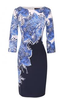 Шелковое приталенное платье с цветочным принтом St. John