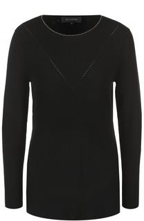 Кашемировый пуловер со стразами и круглым вырезом St. John