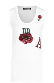 Топ прямого кроя с вышивкой пайетками Dolce & Gabbana