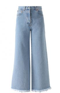 Расклешенные джинсы с завышенной талией и потертостями Forte Couture