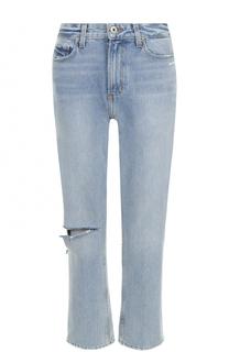 Укороченные джинсы с потертостями Paige