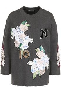 Толстовка с укороченным рукавом и фактурной отделкой Dolce & Gabbana