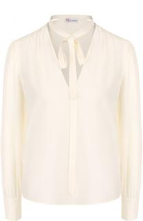 Шелковая блуза прямого кроя с воротником аскот REDVALENTINO