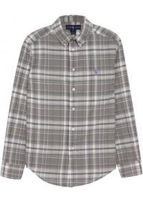 Рубашка из смеси хлопка и льна в клетку с логотипом бренда Polo Ralph Lauren