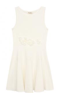 Однотонное платье-миди с аппликациями без рукавов Monnalisa
