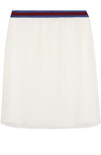 Плисированная юбка с контрастным поясом Gucci