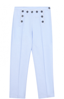Хлопковые брюки прямого кроя с декоративными пуговицами и нашивкой Gucci