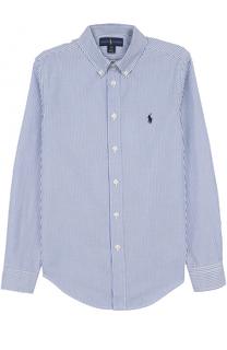Хлопковая рубашка в полоску с логотипом бренда Polo Ralph Lauren