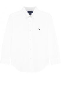 Хлопковая рубашка с логотипом бренда Polo Ralph Lauren